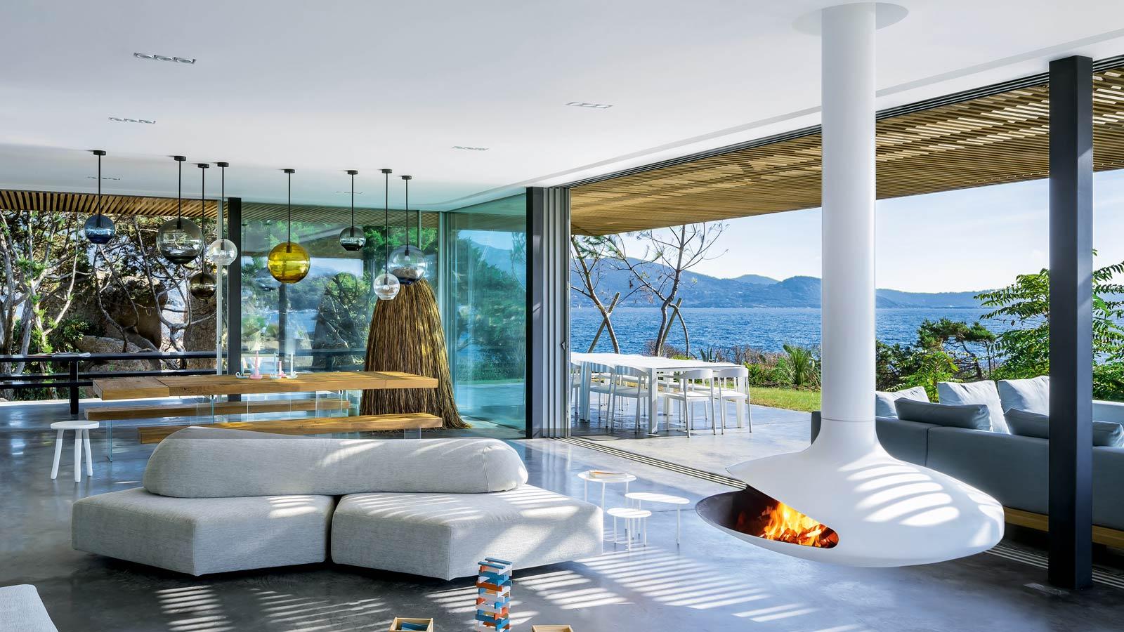 Focus camini di design stufe e barbecues contemporanei focus - Caminetto esterno moderno ...