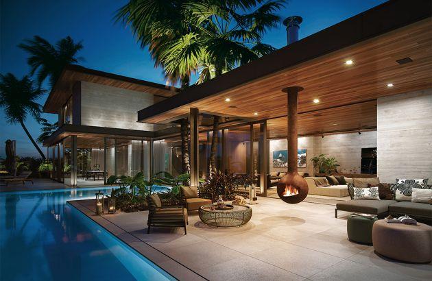 camino design per esterni Bathyscafocus outdoor installato su una terrazza con piscina