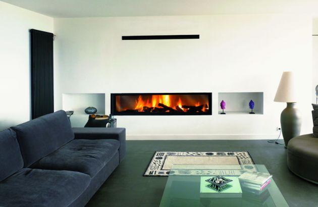 chimenea con el hogar integrado y acristalado Gigafocus